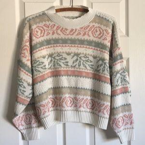 VINTAGE 80's cream pastel pullover cotton sweater